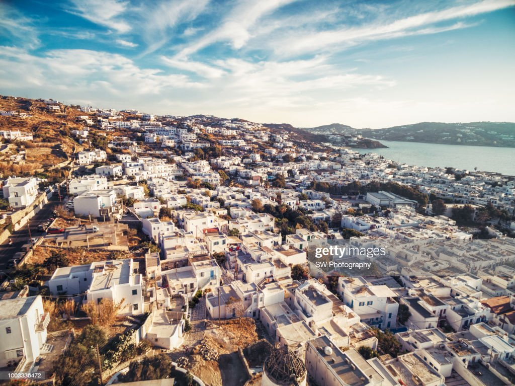 Elevated View of Mykonos city : Stock Photo