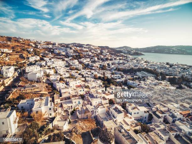 Elevated View of Mykonos city