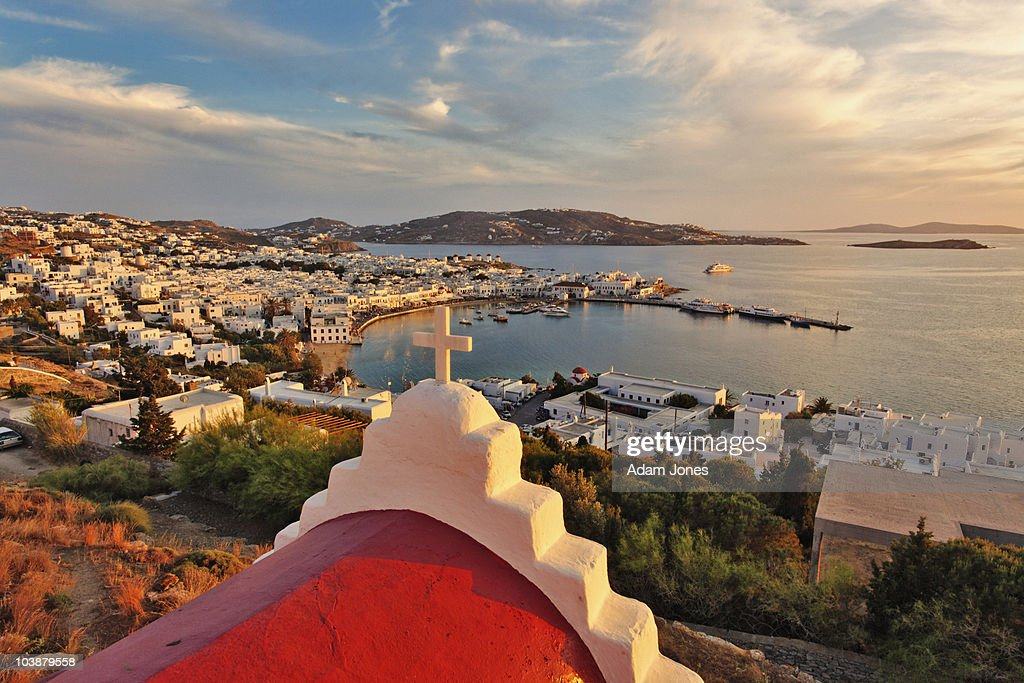 Elevated view of Mykonos Harbor at sunset : Stock Photo