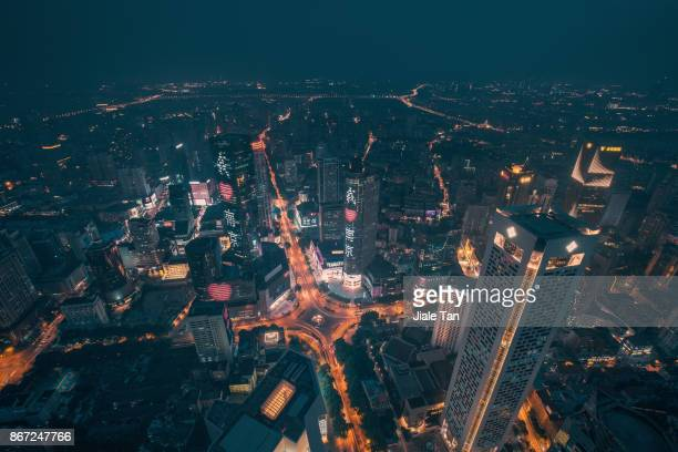 Elevated View of Nanjing CBD Skyline at Dusk