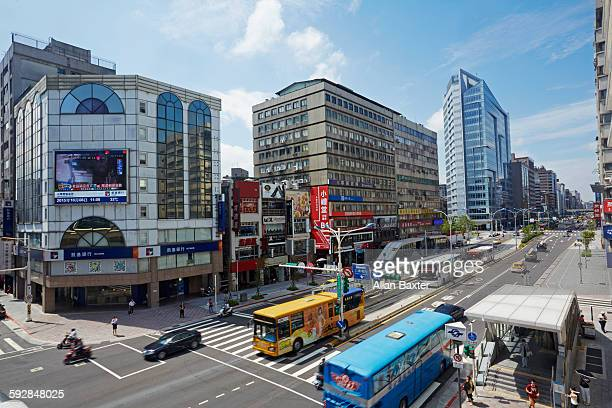elevated view of nanjing east road in taipei - taipei stock pictures, royalty-free photos & images