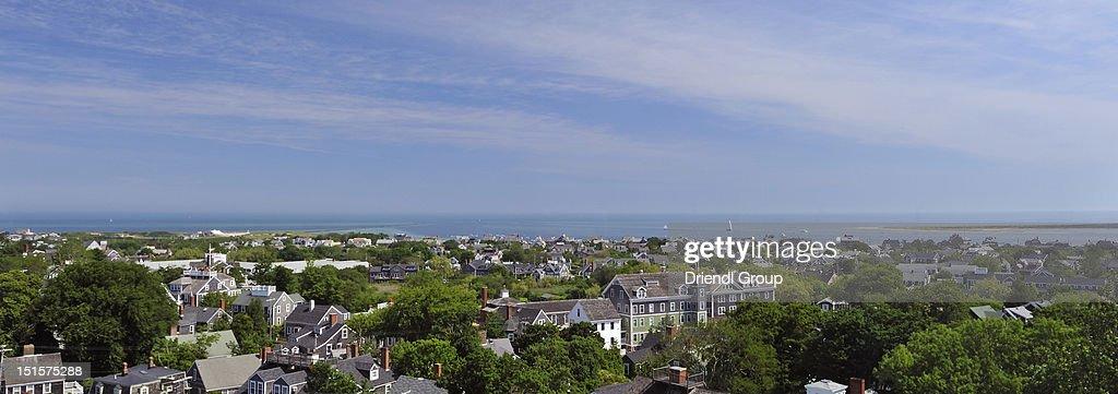Elevated view of Nantucket Harbor. : Foto de stock