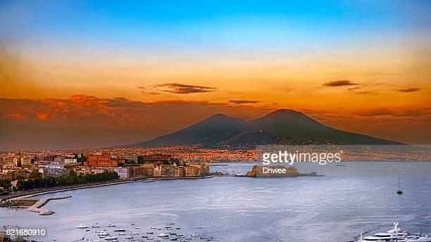 Elevated View Of Naples City With Mt Vesuvius In Background During Sunset, Campania, Italy