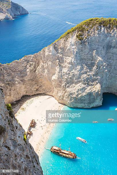 Elevated view of Navagio shipwreck beach. Greece