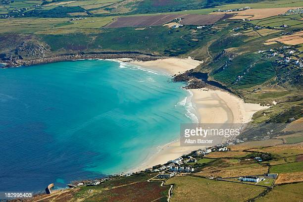 elevated view of north cornwall - st. ives cornwall stock pictures, royalty-free photos & images