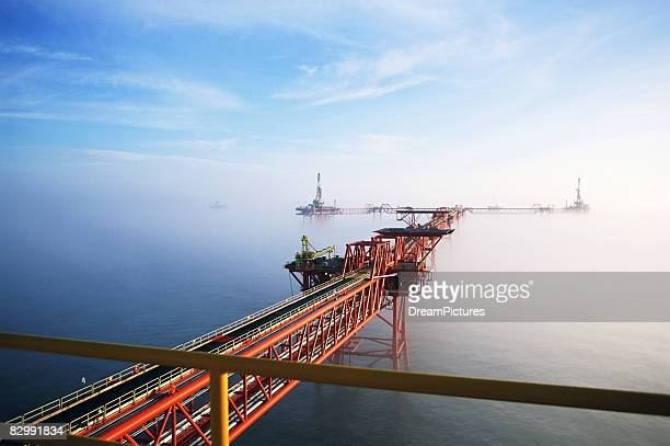 Elevated view of offshore platforms