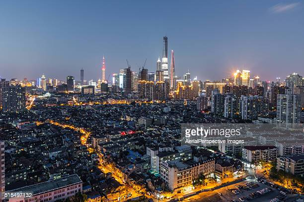 Elevated View of Old and New Shanghai at night