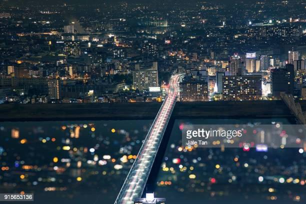 Elevated View of Osaka Umeda at Night