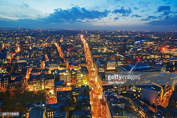 Elevated view of Oxford Street at dusk