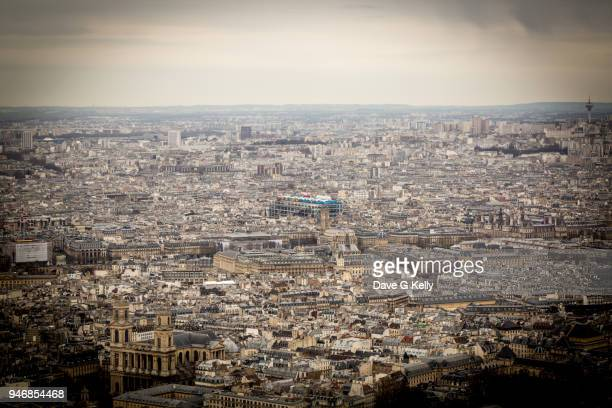 elevated view of paris including the pompidou centre - centre pompidou stock pictures, royalty-free photos & images