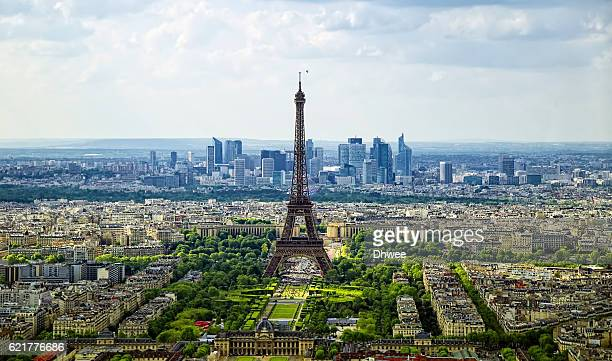 elevated view of paris skyline with eiffel tower in spring - paris skyline stock pictures, royalty-free photos & images