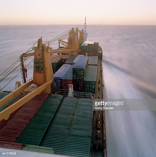 Elevated View of Part of a Cargo Ship Travelling on the Ocean