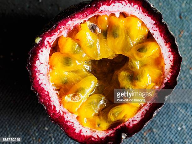 Elevated view of passion fruit cut in half