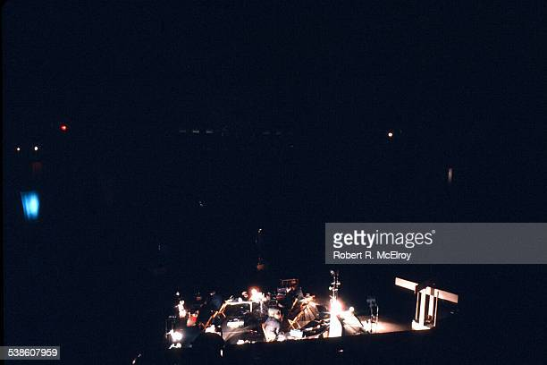 Elevated view of performers during David Tudors 'Bandoneon ' part of '9 Evenings Theatre Engineering' at the 69th Regiment Amory New York New York...