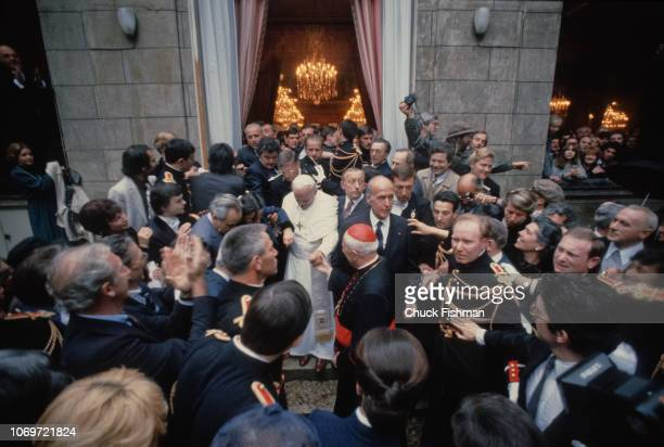 Elevated view of Pope John Paul II and French President Valery Giscard d'Estaing outside the Elysee Palace, Paris, France, May 31, 1980.