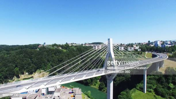 elevated view of poya cable-stayed bridge in fribourg, switzerland - フリブール州 ストックフォトと画像