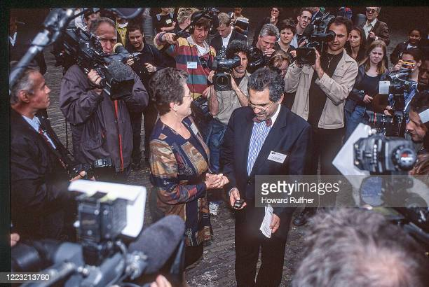 Elevated view of President of the Hague Appeal for Peace Cora Weiss and Nobel Peace prize-winning East Timorese politician Jose Ramos-Horta as they...