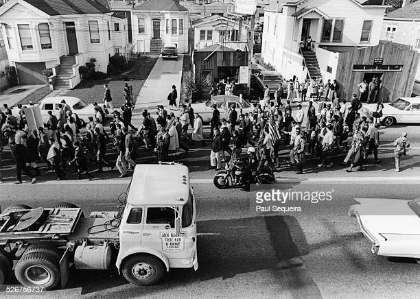 Protesters march during the Vietnam Day Protest at the University of California Berkeley California 1965
