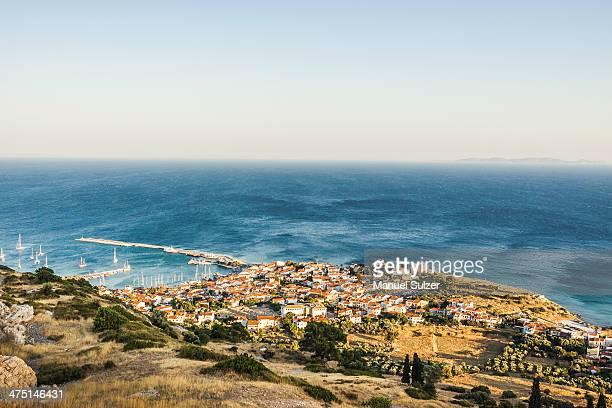 elevated view of pythagoreio, samos, greece - samos stock photos and pictures