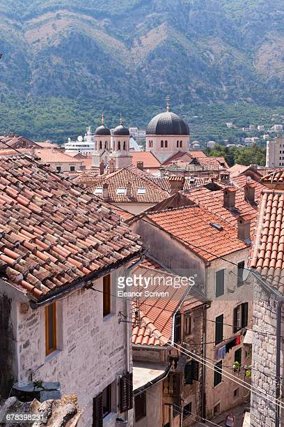 Elevated view of red roof tiles and the domes of the Church of St. Nicholas, Kotor, UNESCO World Heritage Site, Montenegro, Europe