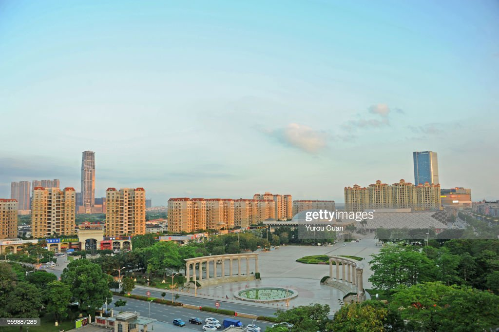Elevated view of residential areas in downtown Guzhen at dusk. : Stock-Foto