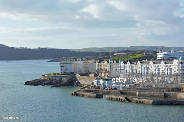 elevated view of river tamar and coastline of plymouth - plymouth stock photos and pictures