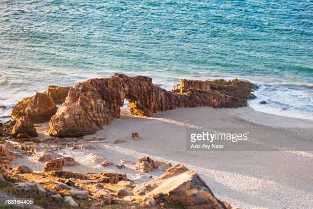 Elevated view of rock formation on beach, Jericoacoara national park, Ceara, Brazil, South America