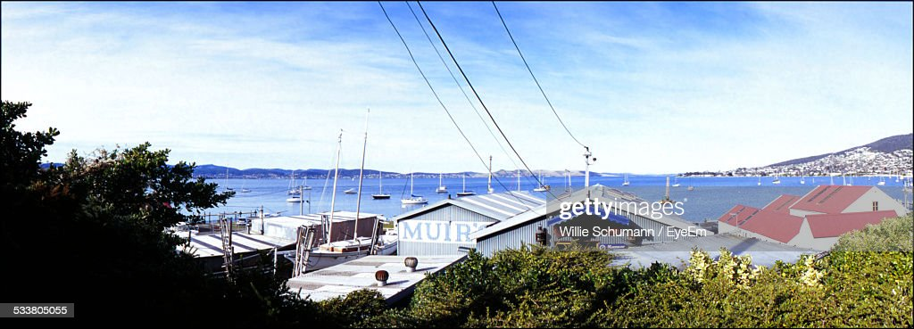Elevated View Of Roofs And Sea : Foto stock