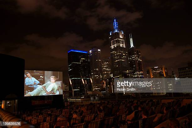 Elevated view of rooftop cinema and CBD, Melbourne, Victoria, Australia