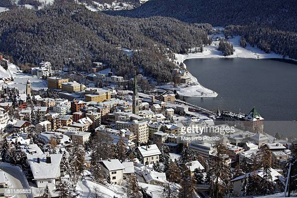 elevated view of saint moritz in winter - saint moritz foto e immagini stock