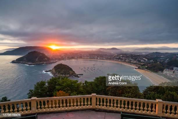 elevated view of san sebastian (donostia) at sunrise. spain - san sebastian spain stock pictures, royalty-free photos & images