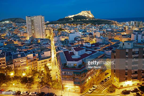 elevated view of santa barbara castle - alicante stock pictures, royalty-free photos & images