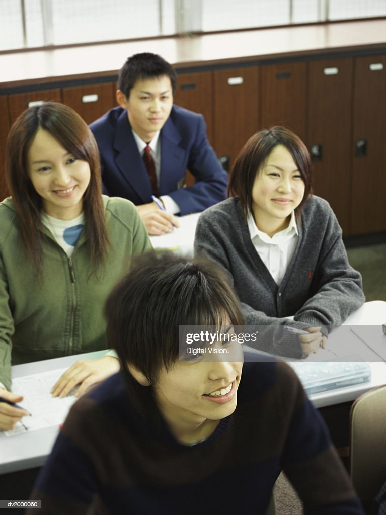 Elevated View of School Students in a Classroom : Stock Photo