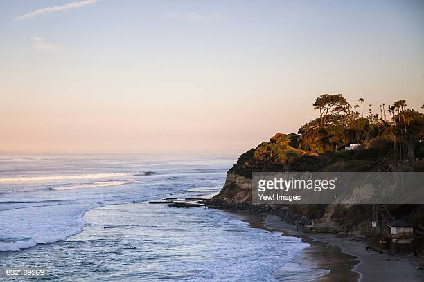 Elevated view of sea and coast at dusk, Encinitas, California, USA