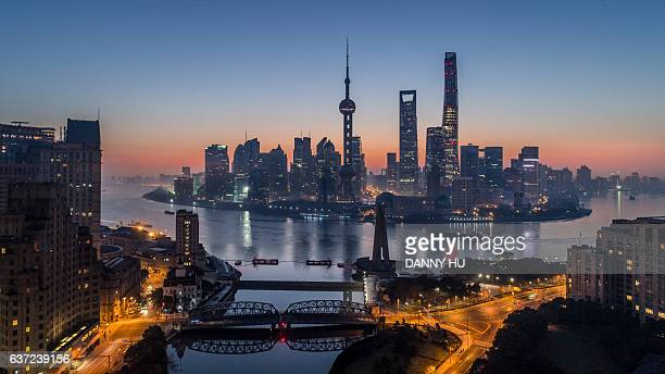 elevated view of shanghai bund and lujiazui at dawn