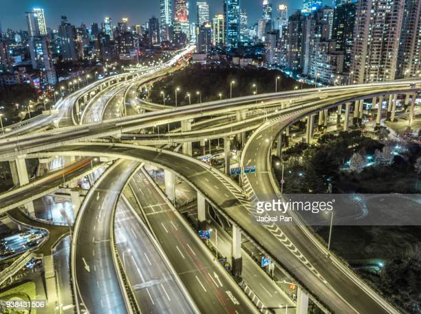 Elevated View Of Shanghai High way at night