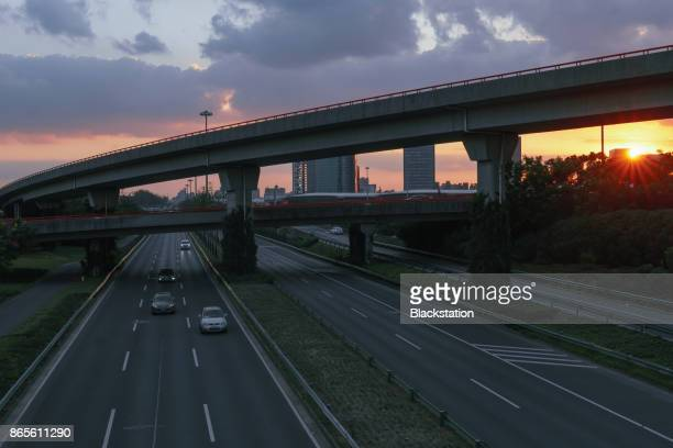 Elevated view of Shanghai highway at dusk
