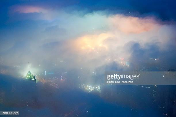 Elevated view of Shanghai in the fog