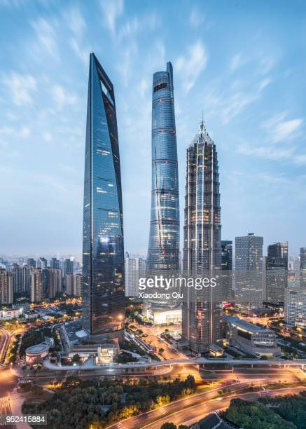 elevated view of shanghai lujiazui at dawn - lujiazui stock photos and pictures