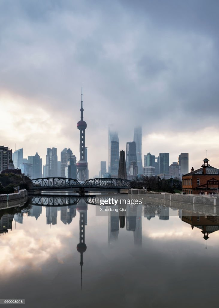 Elevated View Of Shanghai Lujiazui At Dawn : Stock Photo