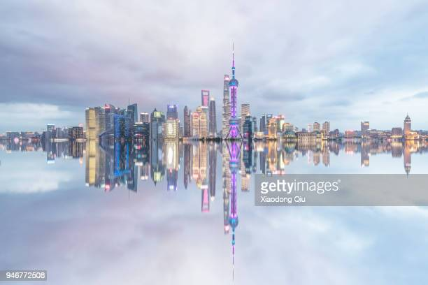 elevated view of shanghai lujiazui at dusk - pudong stock pictures, royalty-free photos & images