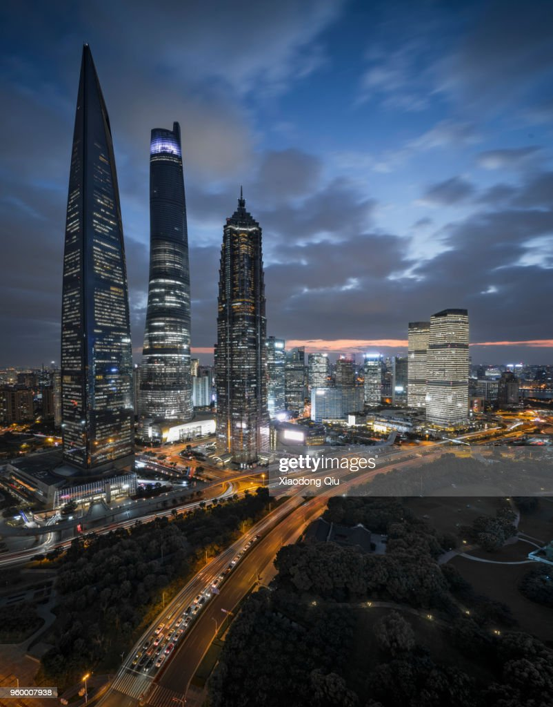 Elevated View Of Shanghai Lujiazui At Night : Stock-Foto