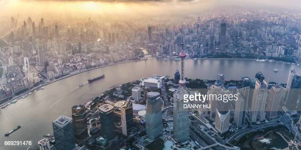 elevated view of Shanghai Lujiazui CBD at dusk