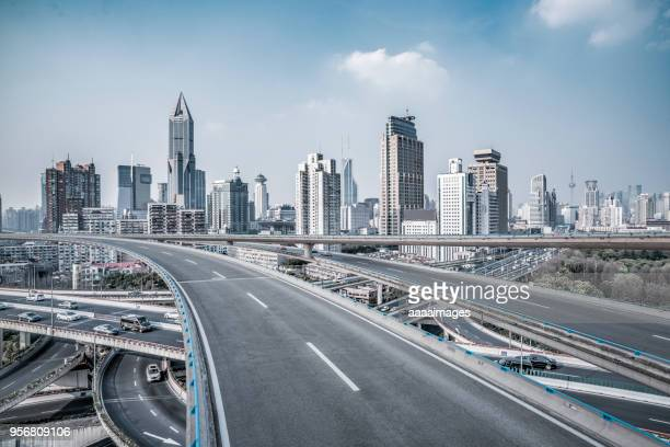 elevated view of shanghai skyline and complicated traffic