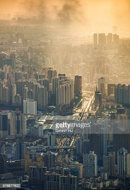 elevated view of Shanghai skyline and railway station at dusk,China