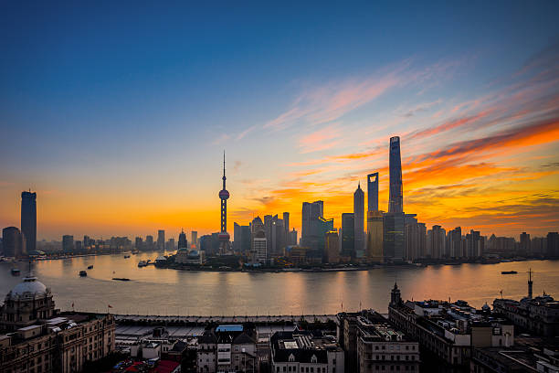 Elevated View Of Shanghai Skyline At Dawn Wall Art