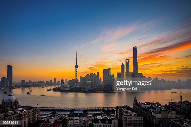 Elevated View of Shanghai Skyline at Dawn