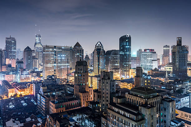 Elevated View Of Shanghai Skyline At Night Wall Art