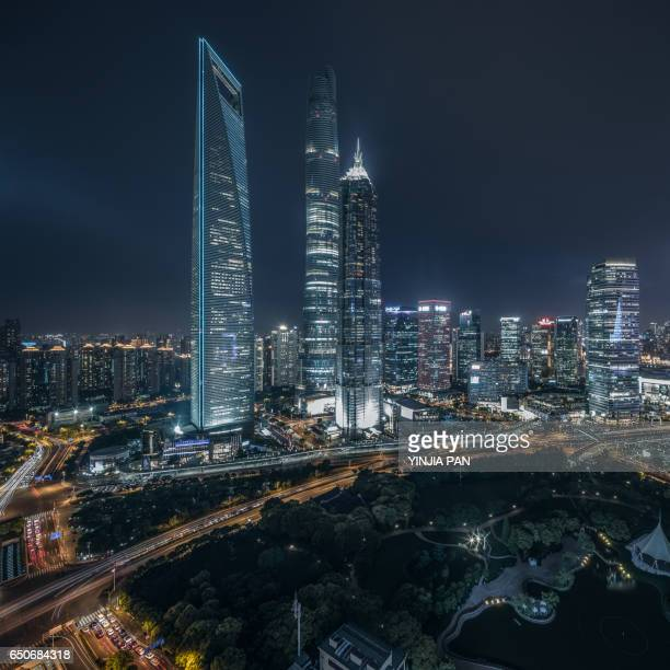 Elevated view of Shanghai skyline at night