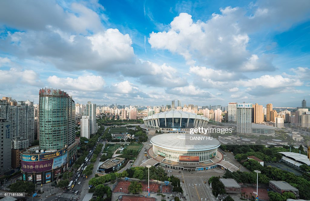 elevated view of Shanghai stadium in the afternoon : Stock Photo